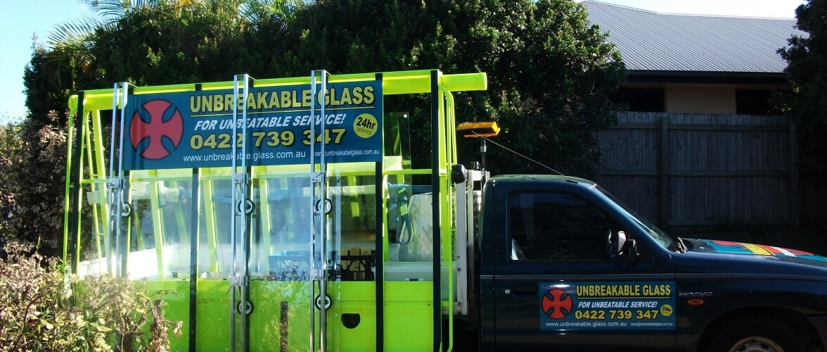 Unbreakable Glass Home Slider Glass Company Service Vehicle with Banner